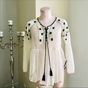 Free people Textured with embroidered   blouse